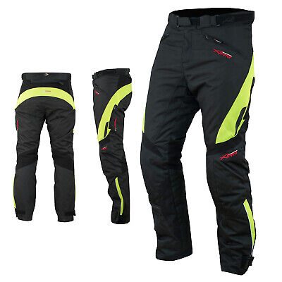 Waterproof Motorcycle Motorbike Textile Thermal Cordura Trousers Fluo Size 34