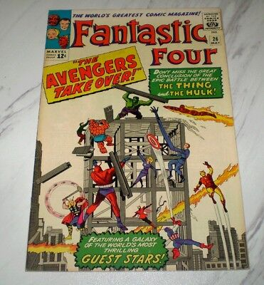 Fantastic Four #26 VF- 7.5 OW pgs Unrestored 1964  2nd Thing-Hulk battle part 2
