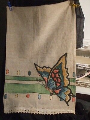 Table Runner Arts Crafts Linen 18 x 54 Butterfies Emboidered Beautiful