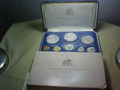 1973 First National Coinage of Barbados Proof Set, Franklin Mint, 2 silver coins