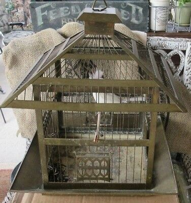 Vintage Hendryx Square Brass Bird Cage + 2 Glass Feeders Exc Original Pet Cages