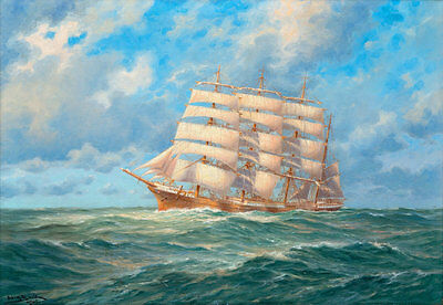 Best gift Seascape Ship Sailing print Oil painting Art wall Picture canvas FC221