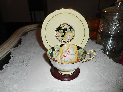 vtg paragon yellow flowers cup and saucer