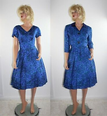 Vintage 50's Blue Floral Silk Rockabilly Swing Dress Belt & Bolero Jacket S/M