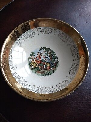 "Sabin Crest-O-Gold 22k Rimmed Bowl 9"" Round EUC Serving Dish Courting Couple"