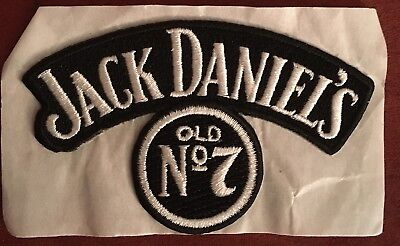 JACK DANIELS OLD #7 black & silver embroidered Iron On  Patch -2-7/8 x 4-1/2
