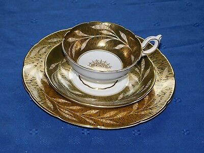 Coalport AD1750 Bone China cup saucer plate Made in England black gold white