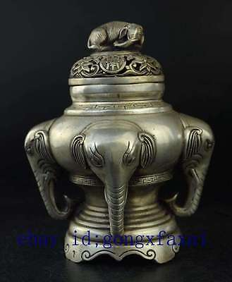 China old copper plating silver Lucky Elephant Incense Burner / daqing mark e01