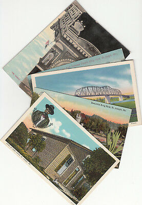 Lot of 6 Vintage Era Postcards St. Joseph MO Missouri Theatre Krug Park Bridge