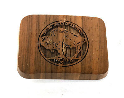 Vintage Lasercraft Etched Wood Buffalo Nickel Belt Buckle United States America