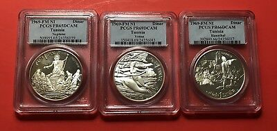1969-Fm -Ni -3 Unc Proof Coins If Tunisia 1 Dinar ,pcgs Graded(Ms-65,66&69 Dcam.