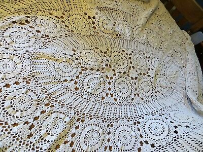 Hand Crochet Lace Oval Tablecloth