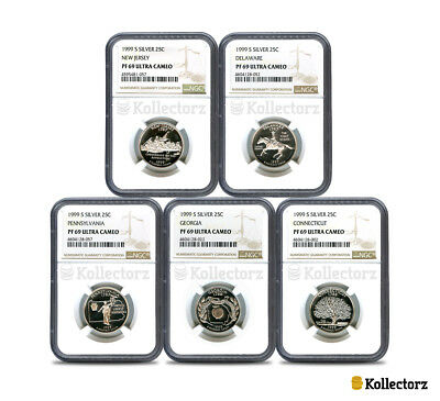 1999 S Silver 25C State Quarter 5-Coin Proof Set Ngc Pf69 Ultra Cameo!