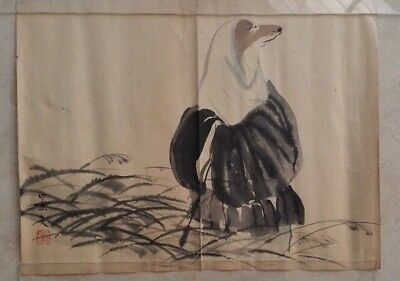 Interesting Japanese Painting or Woodblock Prints - Dog in Kimono - Late 1900