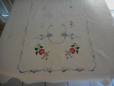 Tablecloth Embroidery Needs Finishing Irish Linen 156 X 96 Cm Flowers No Cottons
