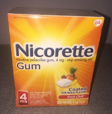 Nicorette Gum 4mg Fruit Chill Stop Smoking Aid 100 Pcs. Coated For Bold Flavor