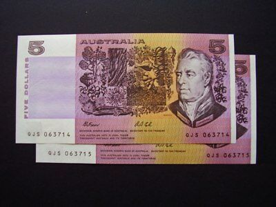 Australia $5.00 Fraser - Cole sequential pair UNC