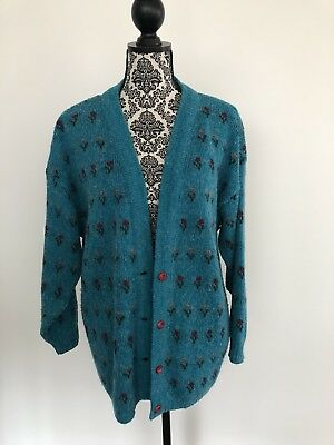 ENIGMA AUSTRALIA vintage RETRO knit Cardigan top Blue Teal green free size S M L