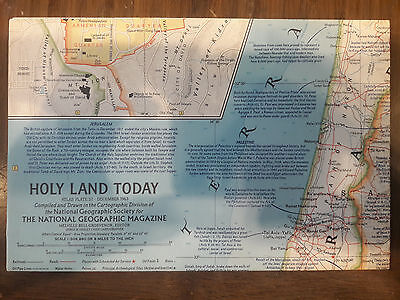 """1963 National Geographic Magazine 25"""" X 19"""" Map Of Holy Land Today 1963 00087"""