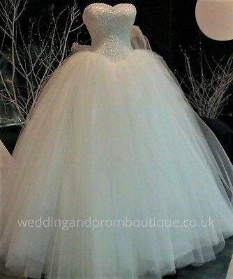 WEDDING DRESS BRIDAL Gown White Ivory New Lace Pearls Size 4 - 24 UK ...