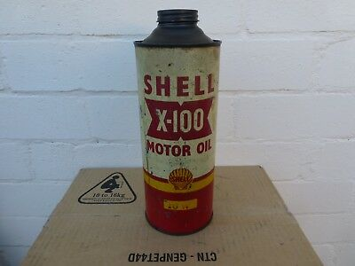 Shell X100 Oil Tin One Imp Quart Size