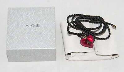 Lalique Red Heart Pendant with Original Box, and Cord