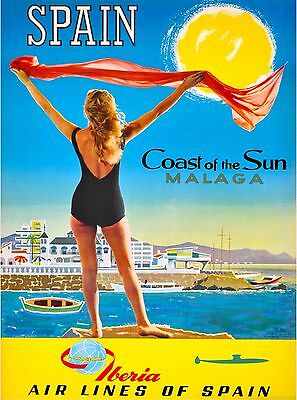 Spain Coast of the Sun Malaga Vintage Spanish Travel Advertisement Poster Print