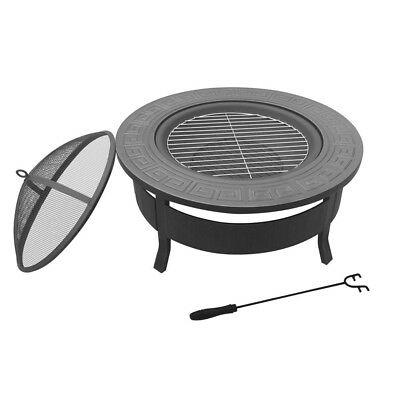NEW Outdoor Fire Pit BBQ Table Grill Fireplace Round