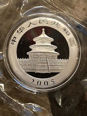 2005 Chinese Panda 1 Ounce Silver Coin in Capsule Collector Proof Beautiful Eye