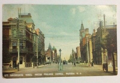Postcard Western Australia St George's Hall from Palace Hotel Perth