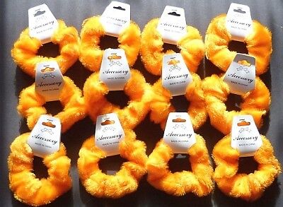 Wholesale 12 Orange Fluffy Hair Scrunchies Party Bag