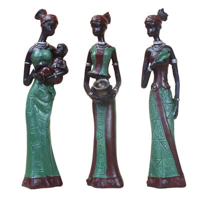 African Figure Sculpture Tribal Lady Figurines Statue Collectible Set Green