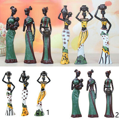 Elegant African Beauty Lady Decorative Women Stand Statue Figurine 6-pack