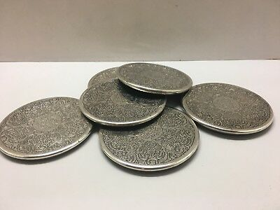 Vintage Hecworth Plated Silver Drink Coasters - Free Shipping