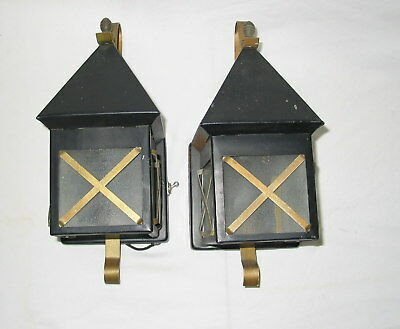 Pair of Vintage Small Carriage Lantern Lights with Switches Black Gold Metal