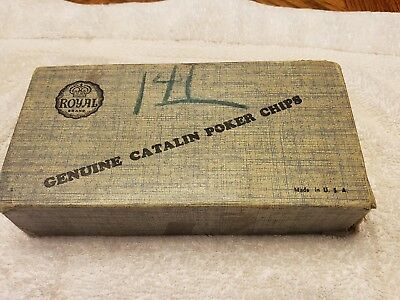 Vintage Royal brand Catalin poker chips USA with box