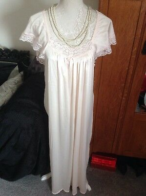 St Michael UK Made Elegant Full Length 58'' Night Gown Size 14 Glossy & Lacy