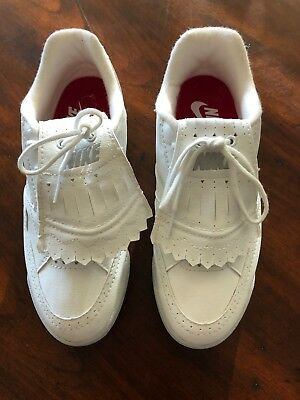 11089f2ccaf Nike Golf Women s White Leather Cleats Wingtip- Classic Vintage - Size 7