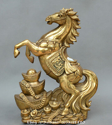 Chinese fengshui old Bronze wealth horse yuanbao money coin auspicious statue