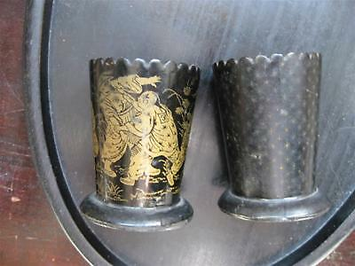Pair Of Antique Black Lacquer Japanese Painted Cups