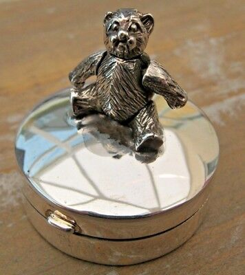 English HM Sterling Silver Articulated Teddy Bear Box Christening Gift New Baby