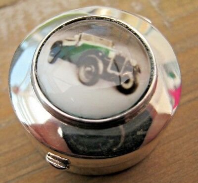 English Hallmarked Sterling Silver & Enamel Vintage Car Snuff Box - Vinaigrette