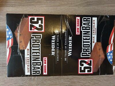 Weider 52% Protein Bar (23x50g) - Eiweiß Riegel - Milk Chocolate - MHD 02/19