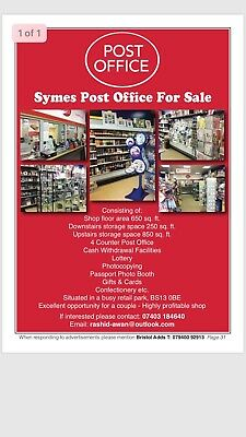 Post Office/shop Business For Sale Bristol (Price Reduced Fpr Quick Sale)