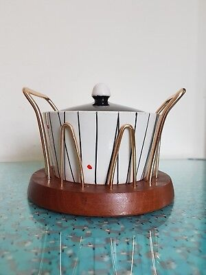 Vintage Retro Crown Devon Wyncraft Atomic Preserve Pot With Lid Teak Base 50s