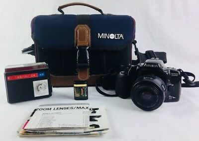 MINOLTA DYNAX 500si CAMERA 35-70mm Power Zoom Lens Untested AS-IS W/Bag