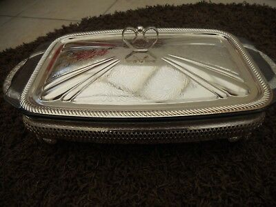 Rectangular glass serving dish with pretty stand and lid. Stainless steel.