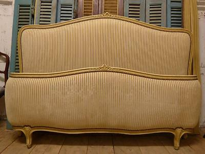 VINTAGE UPHOLSTERED KING SIZE FRENCH BED - 160cm wide - hc19