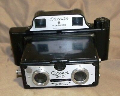 Vintage CORONET 3-D Stereo Camera Made in England NR!