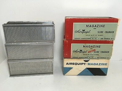 6 Vintage Airequipt Magazine Slide Photo Film Trays for 36 Slides Made in USA